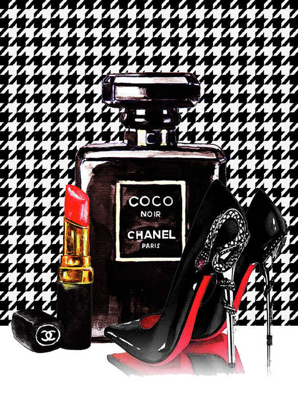 0d5a9720f180 Chanel Noir Perfume With Louboutin Shoes Poster by Del Art