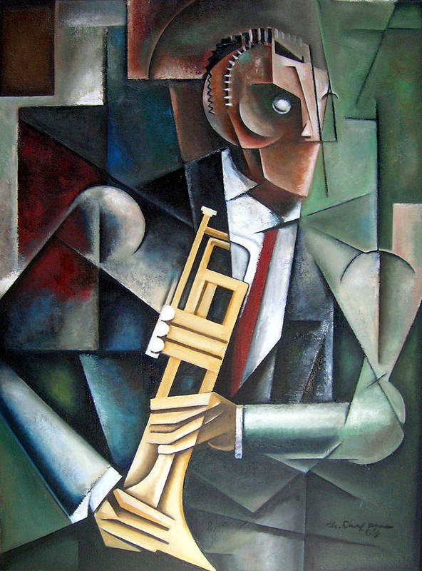 Miles Davis Jazz Trumpet Cubism Poster featuring the painting Changeling by Martel Chapman