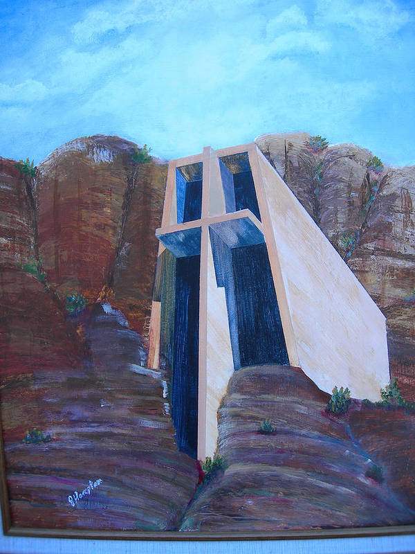 Landscape Poster featuring the painting Chapel in the Mountains by Jack Hampton