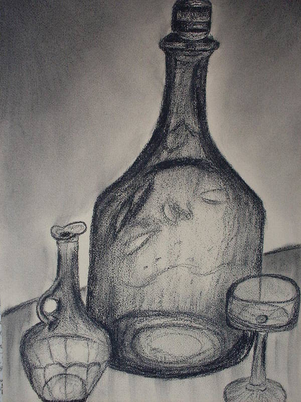 Bottles Glass Drawings Poster featuring the drawing Charcoal Glass by Emily Ruth Thompson