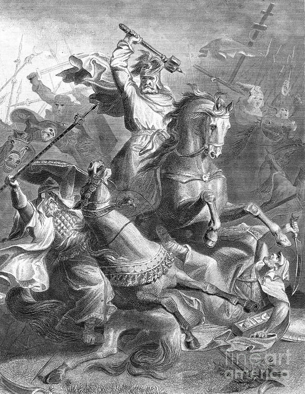 History Poster featuring the photograph Charles Martel, Battle Of Tours, 732 by Photo Researchers
