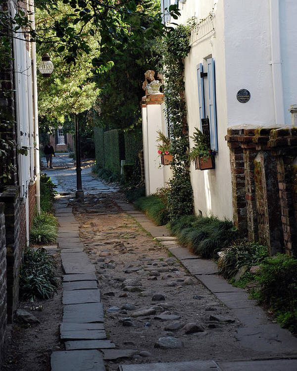 Southcarolina Poster featuring the photograph Charleston Alley 1 by Skip Willits