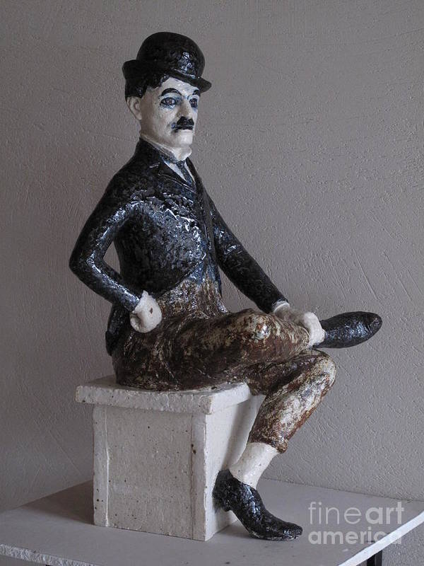 Charlie Chaplin Poster featuring the sculpture Charlie Chaplin by Raimonda Jatkeviciute-Kasparaviciene