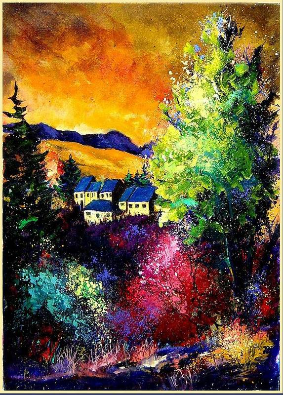 Landscape Poster featuring the painting Charnoy by Pol Ledent