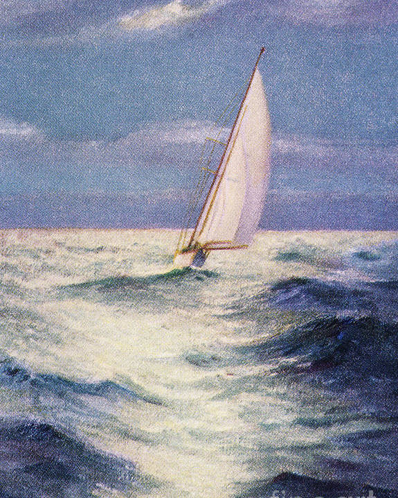 1935 Poster featuring the painting Chas Marer - Sailboat by Hawaiian Legacy Archive - Printscapes