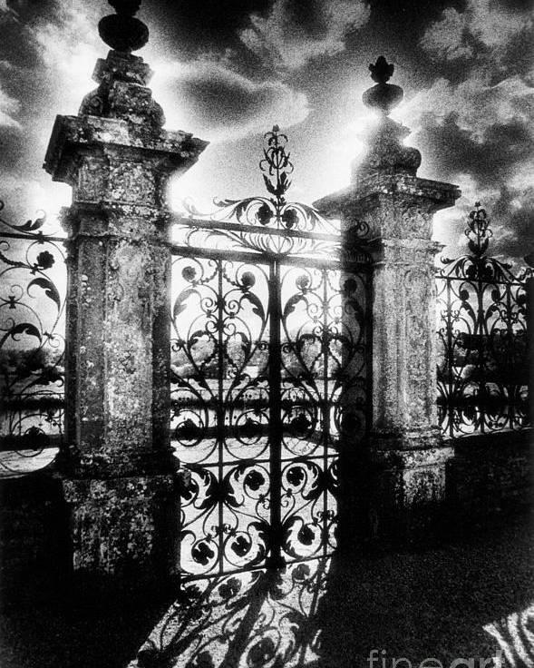 Gate; Wrought Iron; Posts; Pillars; Entrance; Portal; Grand; Grandiose; French; Metalwork; Ornate; Atmospheric; Spooky; Eerie; Fairytale; Moonlit; Moonlight; Dramatic; Portal; Castle; Renaissance; Baroque Poster featuring the photograph Chateau De Carrouges by Simon Marsden