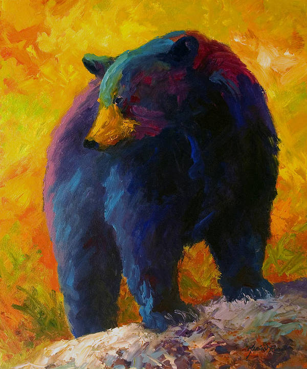 Western Poster featuring the painting Checking The Smorg - Black Bear by Marion Rose
