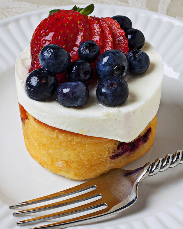 Fruit Tart Pie Pies Poster featuring the photograph Cheese Cream Cake With Fruit by Garry Gay