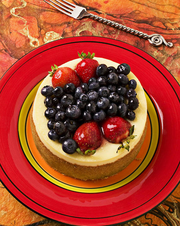 Fruit Poster featuring the photograph Cheesecake On Red Plate by Garry Gay