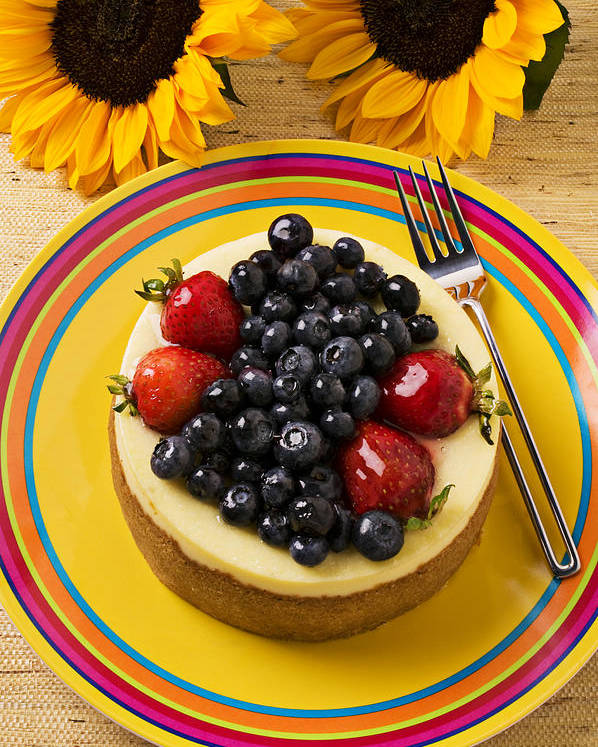 Fruit Poster featuring the photograph Cheesecake With Fruit by Garry Gay