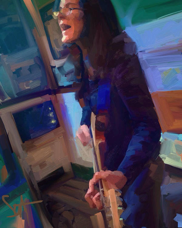 Chelsea Saddler Music Musician St. Augustine Painting Portrait Guitar Poster featuring the digital art Chelsea by Scott Waters