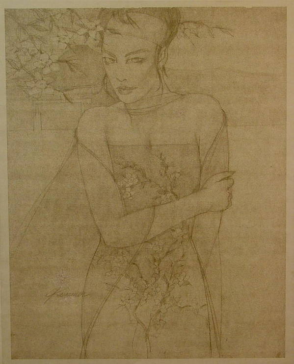 Female Poster featuring the painting Cherry Blossoms by Gary Kaemmer