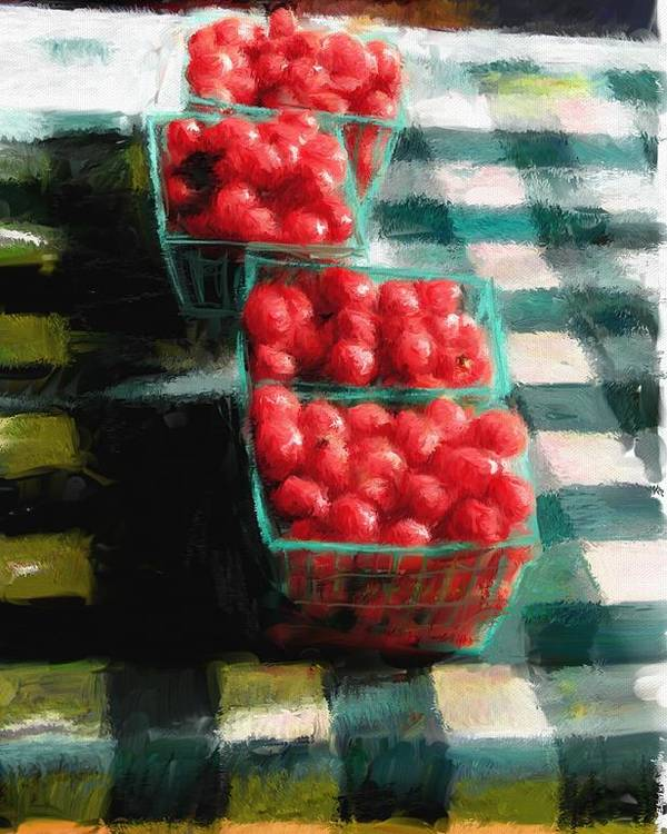 Cherry Tomatoes Poster featuring the digital art Cherry Tomato Basket by RG McMahon