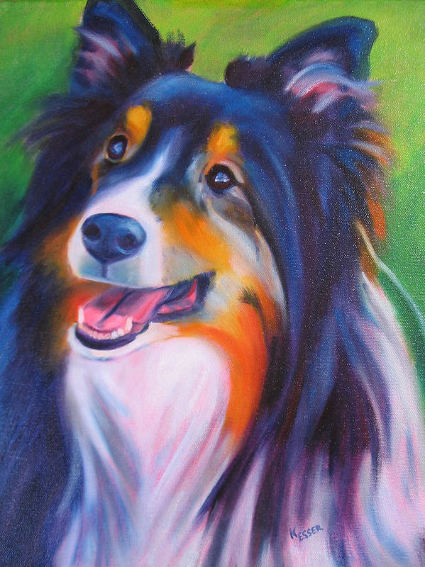 Sheltie Poster featuring the painting Chessie by Kaytee Esser