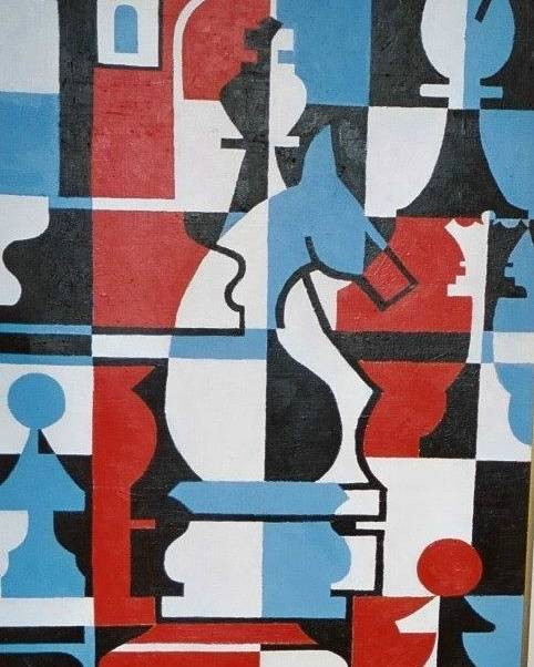 Chessmen Poster featuring the painting Chessmen by Nicholas Martori