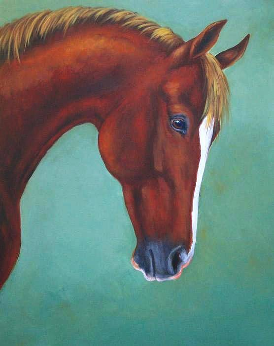 Horse Poster featuring the painting Chestnut Horse by Oksana Zotkina