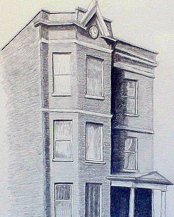 Pencil Poster featuring the drawing Chicago Apartment by Stan Hamilton