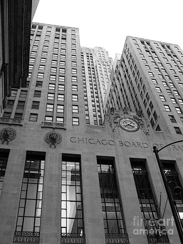 Black And White Poster featuring the photograph Chicago Board of Trade by David Bearden