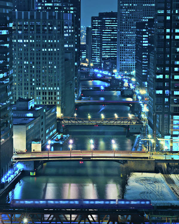Chicago Poster featuring the photograph Chicago Bridges by Steve Gadomski