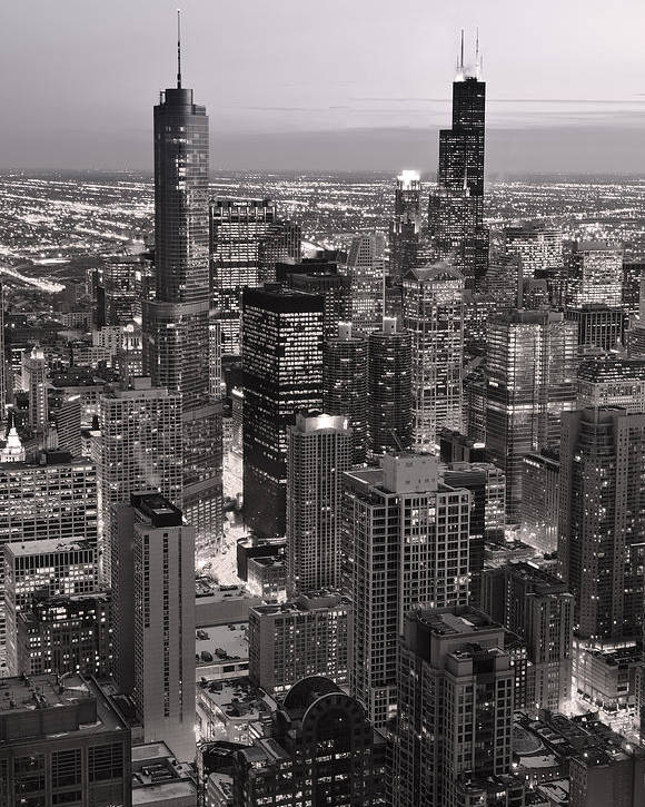 Aerial Poster featuring the photograph Chicago Loop Sundown B And W by Steve Gadomski