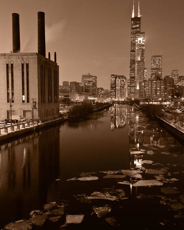 Chicago Poster featuring the photograph Chicago River B And W by Steve Gadomski