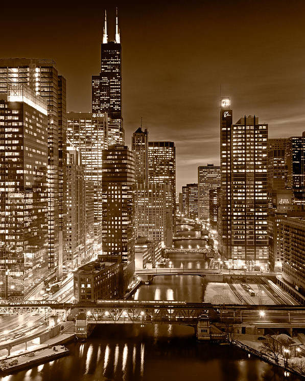 Boeing Poster featuring the photograph Chicago River City View B And W by Steve gadomski