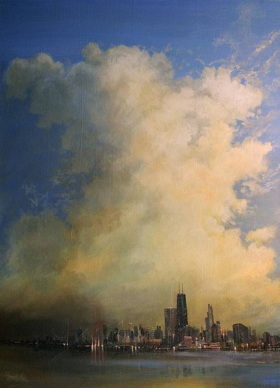 Skyscape Poster featuring the painting Chicago Skyscraper by Tom Shropshire