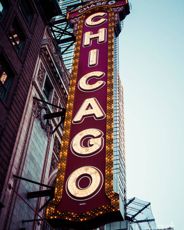 America Poster featuring the photograph Chicago Theatre Marquee Sign Vintage by Paul Velgos