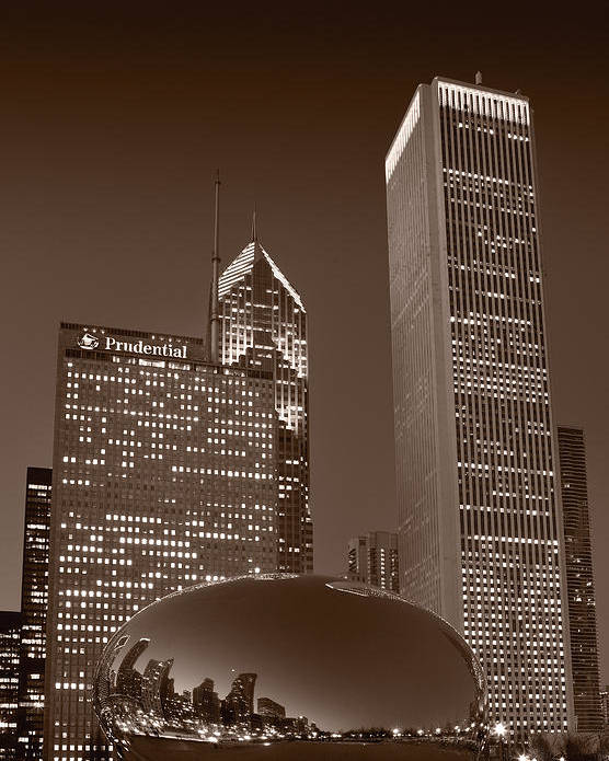 Black Poster featuring the photograph Chicagos Millennium Park Bw by Steve Gadomski