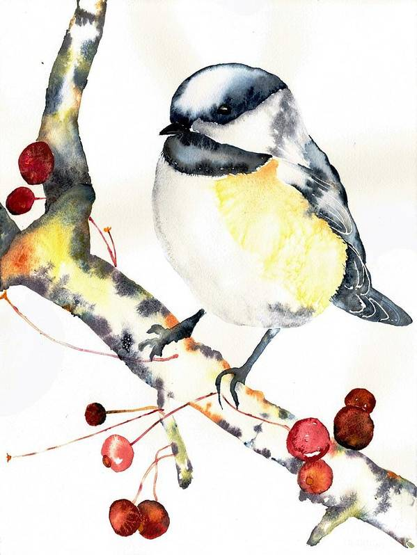 Birdie Poster featuring the painting Chickadee by Robin Moreng