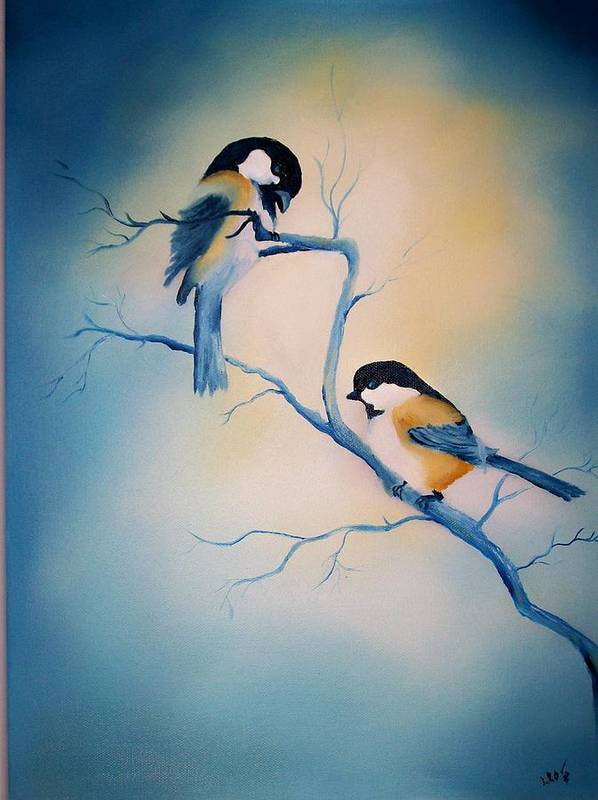 Birds Poster featuring the painting Chickadees by Leo Gordon