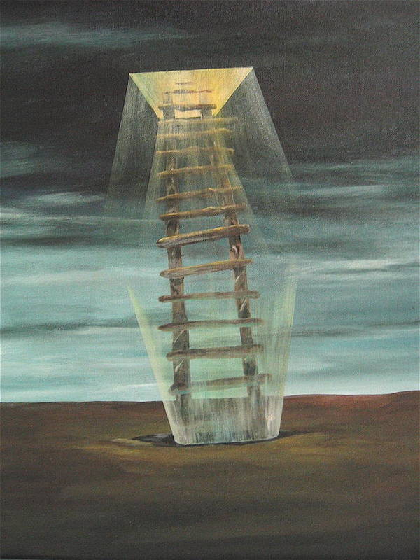 Surrealism Poster featuring the painting Chickasaw's Ladder by K Hoover