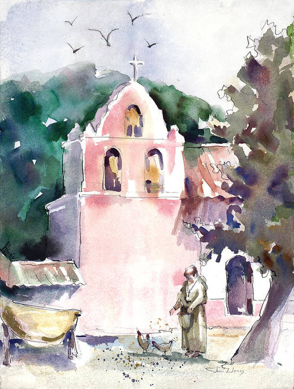Joan Fuhrman Jones Poster featuring the painting Chicken Feed by Joan Jones
