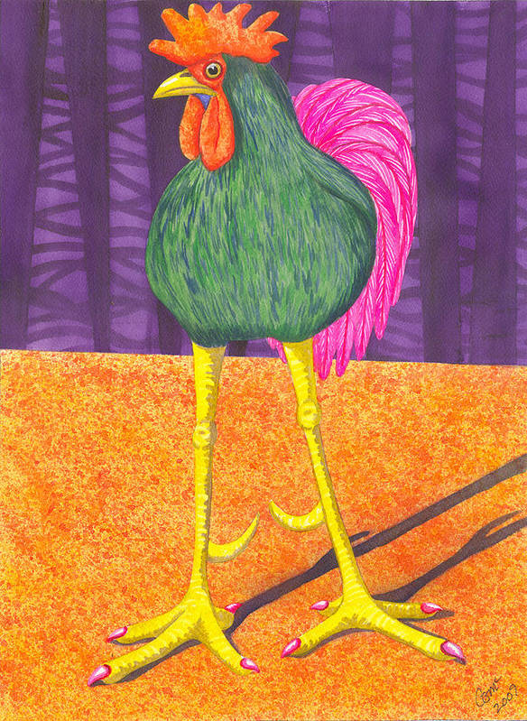 Rooster Poster featuring the painting Chicken Legs by Catherine G McElroy