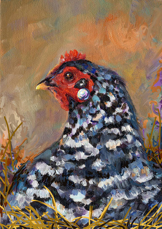 Chicken Poster featuring the painting Chicken With A Pearl Ear Ring by Peggy Wilson