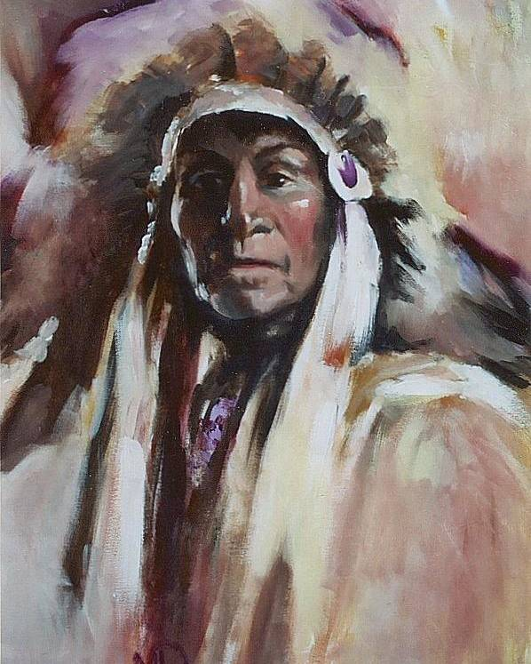 Native American Poster featuring the painting Chief 1 by Elizabeth Silk