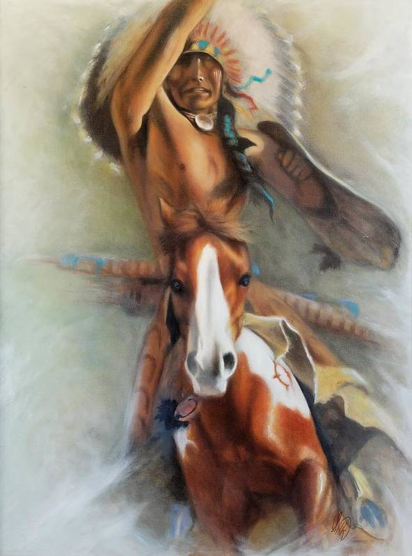 Native American Poster featuring the painting Chief Hole In The Day by Elizabeth Silk
