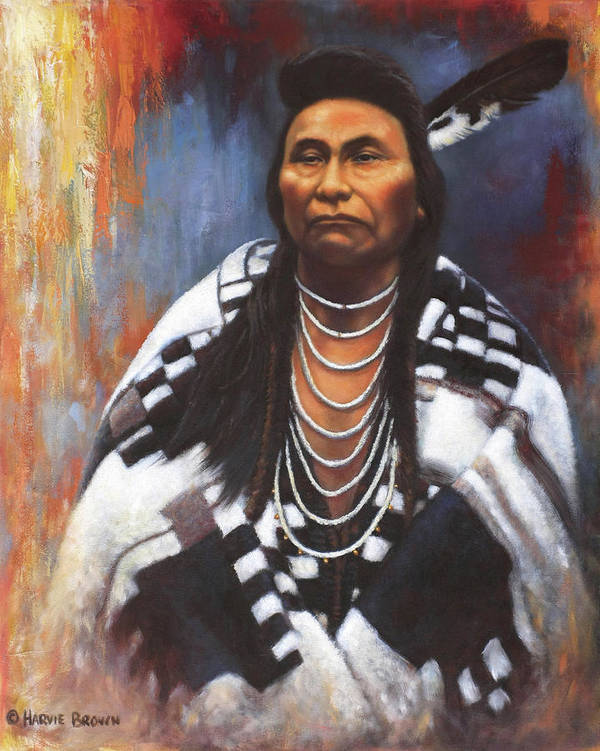Native American Poster featuring the painting Chief Joseph by Harvie Brown