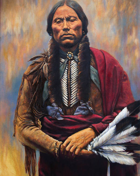 Indian Chief Poster featuring the painting Chief Quanah by Harvie Brown