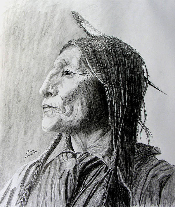 Original Drawing Poster featuring the drawing Chief Wolf Robe by Stan Hamilton