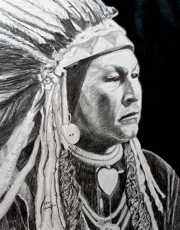Indian Portrait Poster featuring the drawing Chief Yellow Wolf by Stan Hamilton