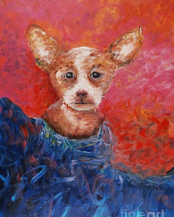 Dog Poster featuring the painting Chihuahua Blues by Nadine Rippelmeyer