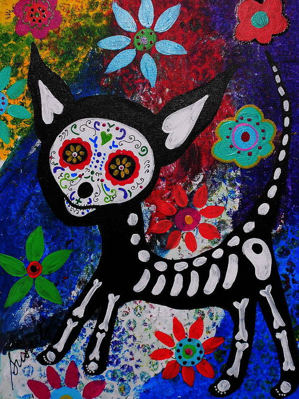 Day Of The Dead Poster featuring the painting Chihuahua Day Of The Dead by Pristine Cartera Turkus