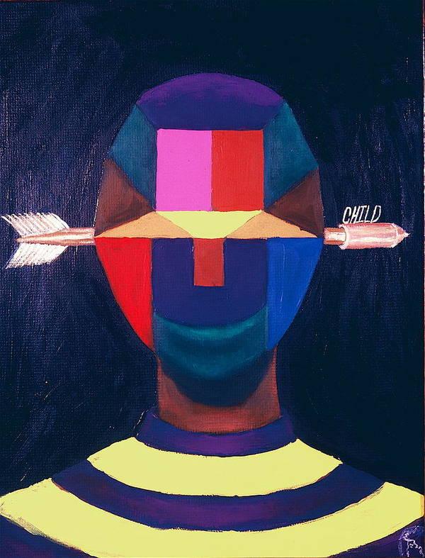 Black Poster featuring the painting Child by Malik Seneferu