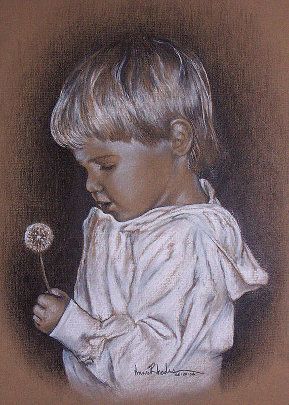 Portrait Poster featuring the painting Childhood Wonder by Anne Rhodes