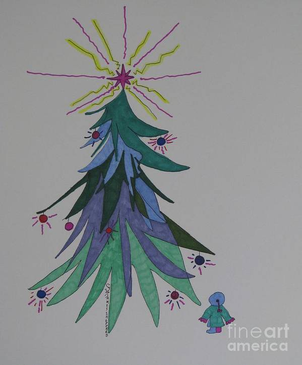 Cjristmas Poster featuring the mixed media Child's Blue Spruce by James SheppardIII