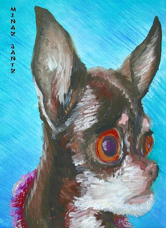 Dog Poster featuring the painting Chili Chihuahua by Minaz Jantz