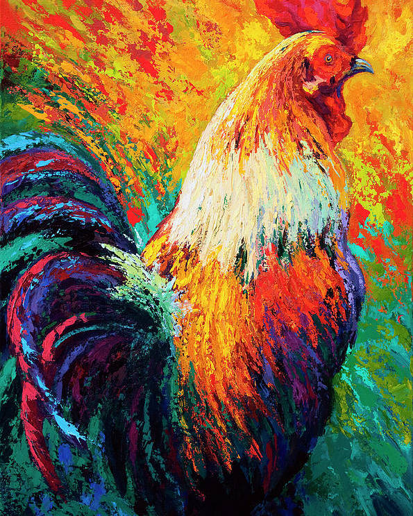 Rooster Poster featuring the painting Chili Pepper by Marion Rose