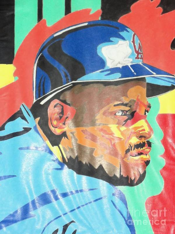 Baseball Poster featuring the pastel Chilli Davis by Damion Powell
