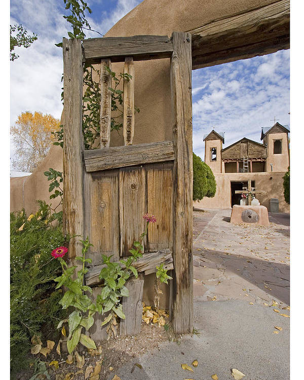 Church Poster featuring the photograph Chimayo Gate by Judy Deist